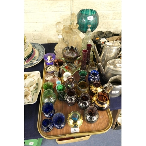 17 - Assorted silver overlay vases, Venetian glass vase, decanters and decorative glassware (1 tray)...