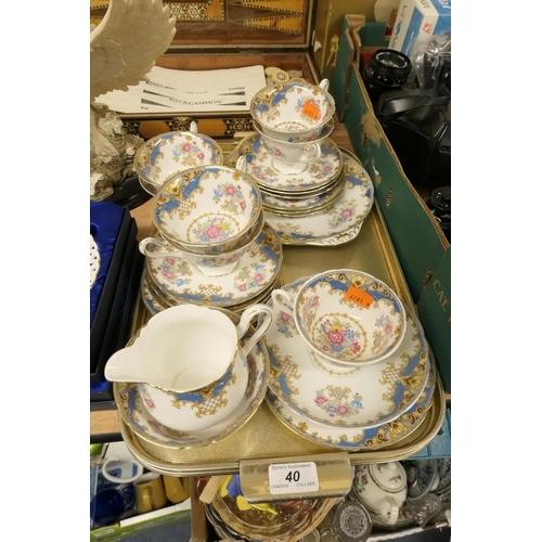 40 - Shelley Sheraton pattern (blue) china tea service...