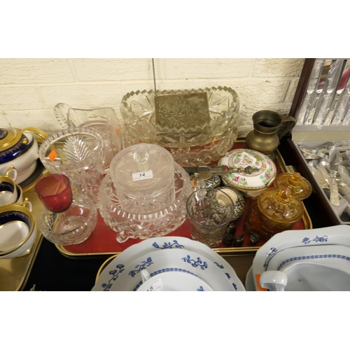 14 - Mixed glassware, two Carlton Ware marbled match strikers, Japanese Antimony cigarette box etc...