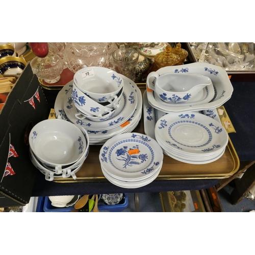 15 - Spode Palace Garden blue printed dinner wares...