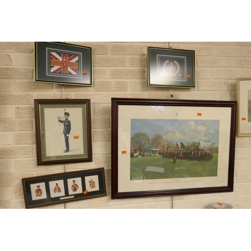 16 - Terence Cuneo framed print 'The double march past of the Light Infantry Battalions' and other Light ...