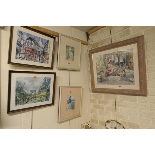 2 - Gordon King framed, coloured print 'Friends', and four further prints (5)...
