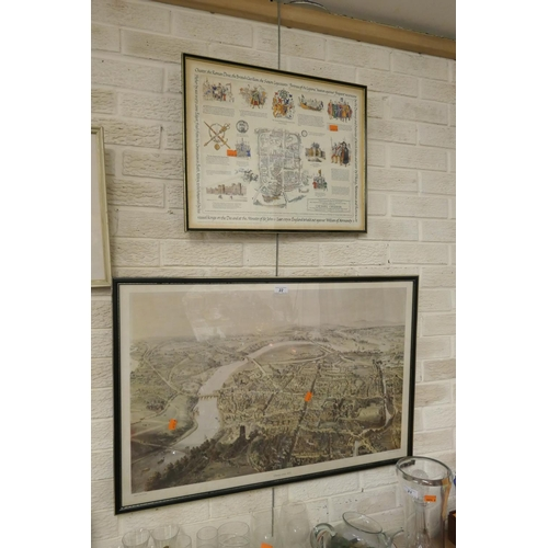 22 - Framed aerial print of Chester in 1855 and further Chester related print (2)...