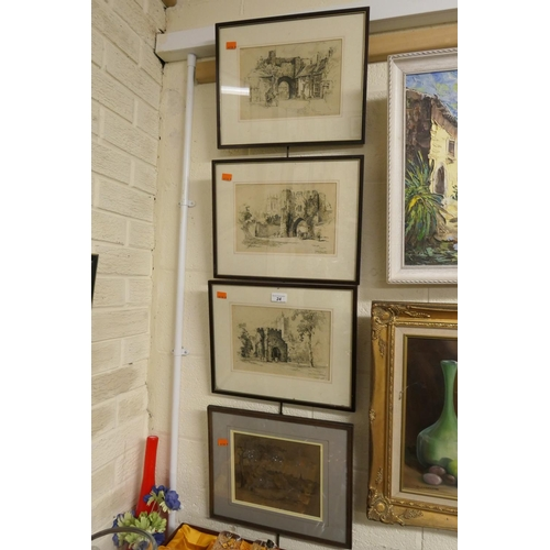 24 - Three Sidney Barrett old architectural prints and further print of Uppingham (4)...