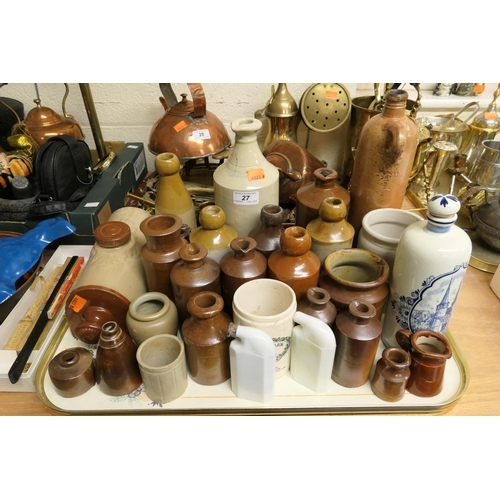 27 - Collection of Victorian salt glazed stoneware and other bottles and jars...