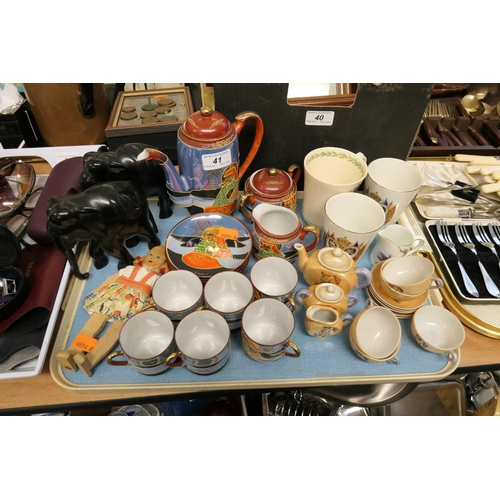 41 - Decorative china including Japanese porcelain child's tea service, Royal commemorative wares and Gri...
