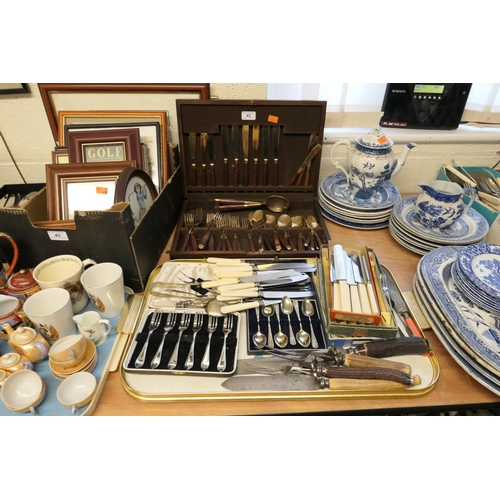 42 - Mixed cutlery including Victorian antler handled carvers, bronze and wooden canteen etc...