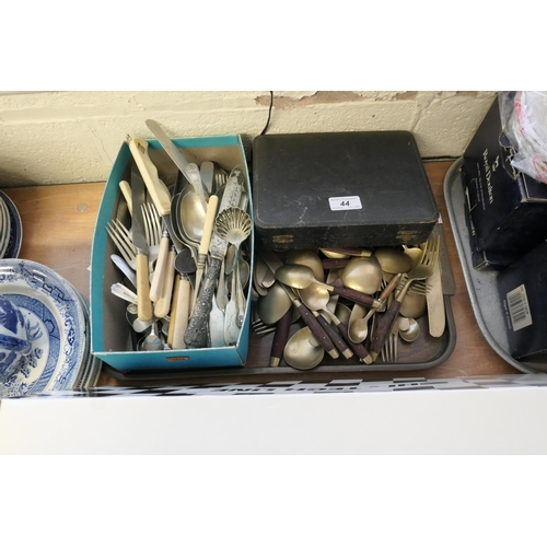 44 - Assorted loose plated and bronze cutlery...