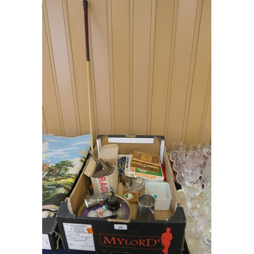 49 - Collector's golfing items including old club heads etc...