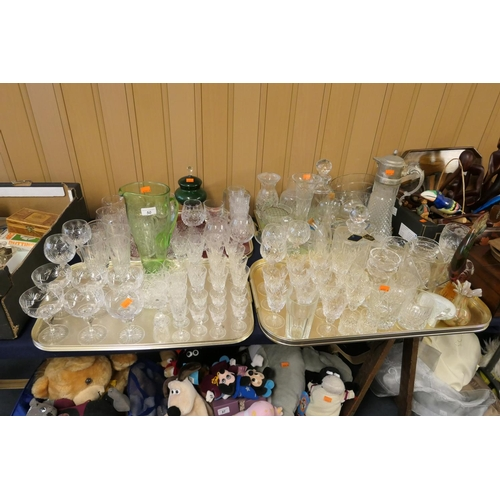 50 - Large quantity of cut crystal glassware including Royal Brierley; also Babycham glasses etc (4 trays...