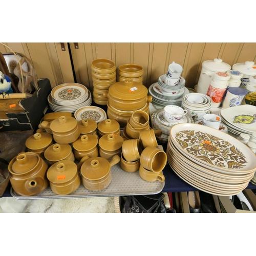 52 - Denby Canterbury patterned dinner stone wares, Royal Worcester Evesham Vale porcelain dinner wares a...