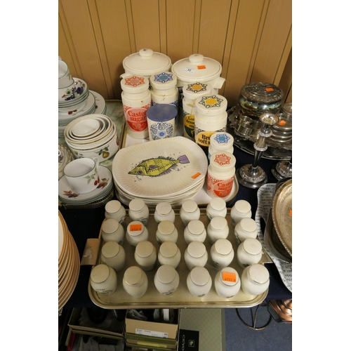 53 - Retro kitchen storage jars including Lord Nelson Pottery; also Washington Pottery Aquarius series pl...