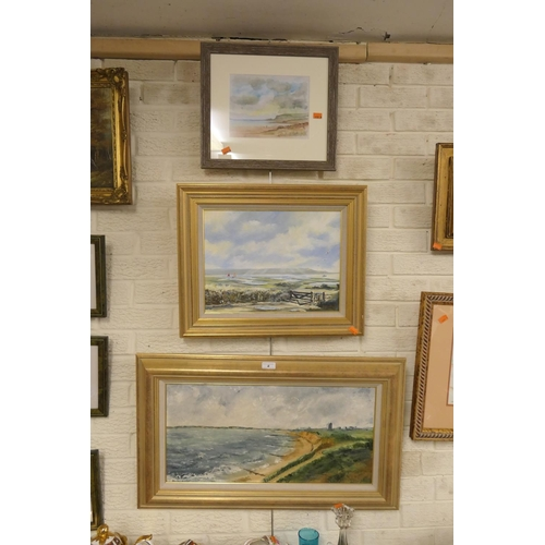 8 - R. Stanford, two coastal landscape oil paintings and framed watercolour of coastal landscape (3)...
