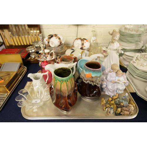 10 - Spanish porcelain figure, decorative vases, Portmeirion jugs, decorative glassware, Wade Whimsies (1...