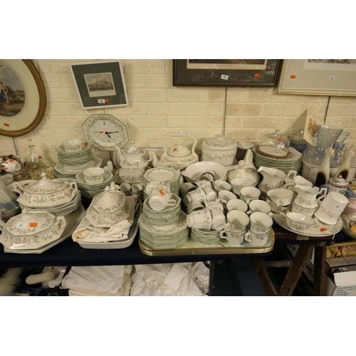 11 - Large quantity of Johnson Brothers Eternal Beau pattern dinner, tea, coffee and kitchen wares; assor...
