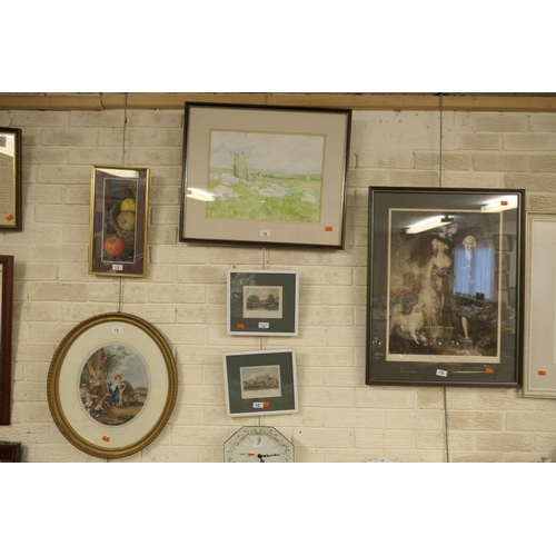12 - Robin Sawdeison, framed pastel, 'Fruit & Tomato'; also Audrey Hind, framed watercolour of a landscap...