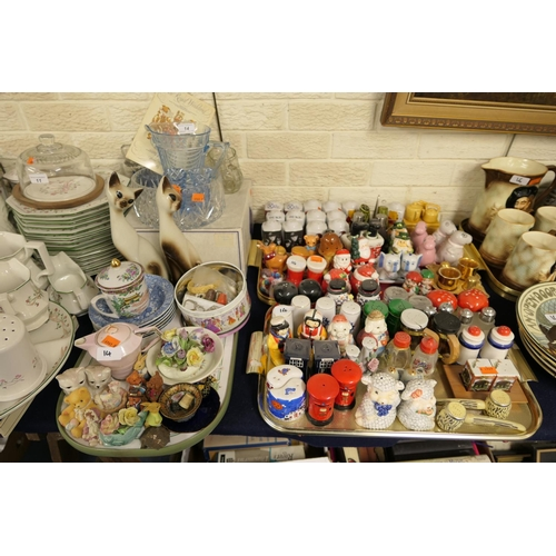 14 - Decorative china, collection of salt and pepper pots and assorted decorative glassware (3 trays)...