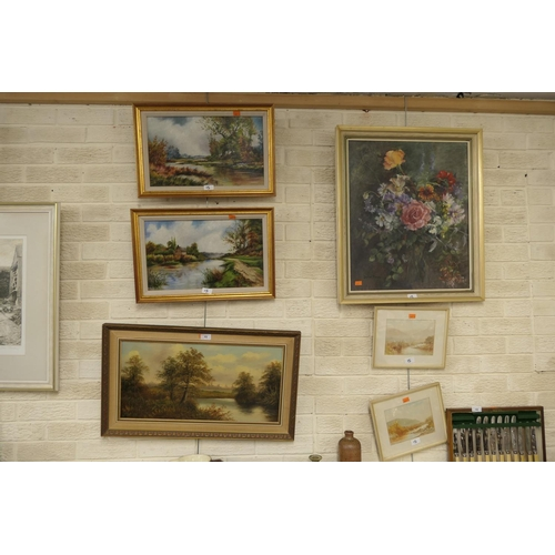 15 - Daphne Tiernan, framed oil, floral still life painting, three further framed oil landscape paintings...