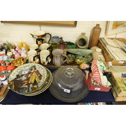 16 - Art Pottery and stoneware including vases, tankard, salt cellar etc; also collectable Cavalier jug a...