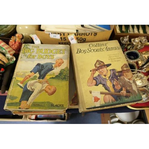 18 - Boys' annuals and books including Collins' Boy Scouts annual...