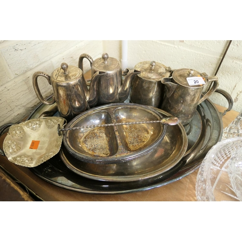 20 - Silver plated ware including hotel ware tea and coffee pots, silver plated tray, three branch candel...