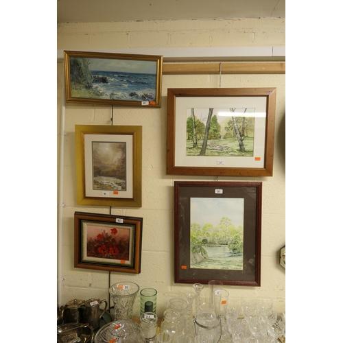 21 - Barbara Leach, framed watercolour landscapes and further framed watercolour landscape; also two fram...