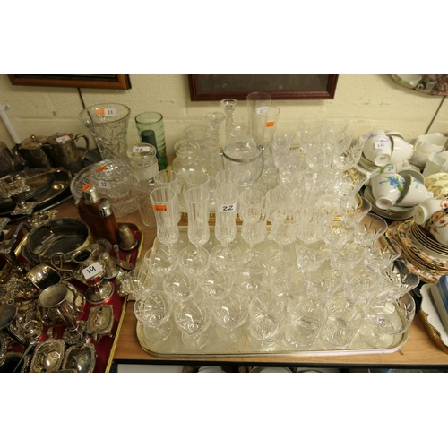 22 - Quantity of cut glass and crystal drinking glasses by Stuart Crystal and others; also decorative gla...