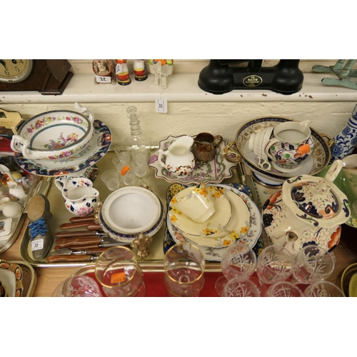 30 - Noritake pot pourri dish, Crown Ducal Art Deco china trio, Victorian Gaudy Welsh teapot, further dec...
