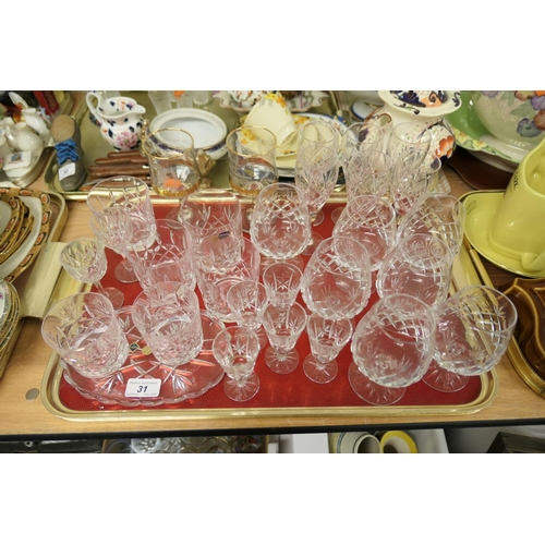 31 - Bohemian crystal glasses, further drinking glasses (1 tray)...