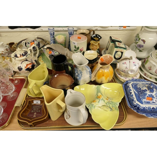 34 - Breweriana including jugs, ashtrays; also collectable china by Beswick, Maling, also Royal Osborne t...