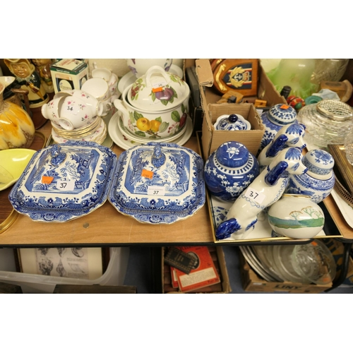 37 - Oriental blue and white wares including ginger jars, India Jane vase, Staffordshire spaniels, pair o...