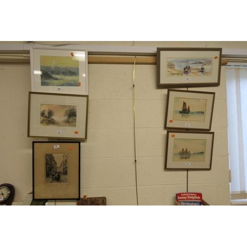 39 - Ray Balkwill, framed watercolour, 'West Country harbour', M. Clifton, Menai Bridge framed pastel, fu...