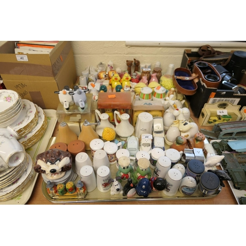 44 - Collection of salt and pepper pots by various makers (2 trays)...