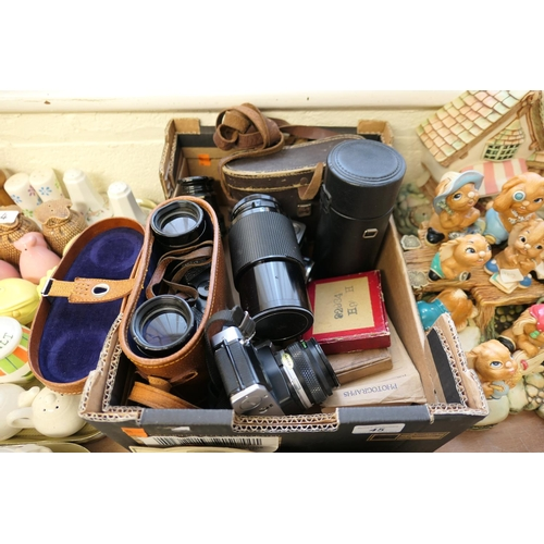 45 - Two pairs of cased binoculars, opera glasses, Olympus OM20 camera, camera lenses, further camera (1 ...