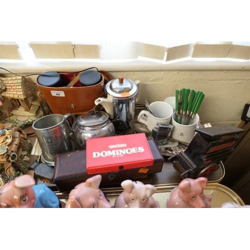 48 - Cased binoculars, chrome table lighter, insulated hot water jug etc...