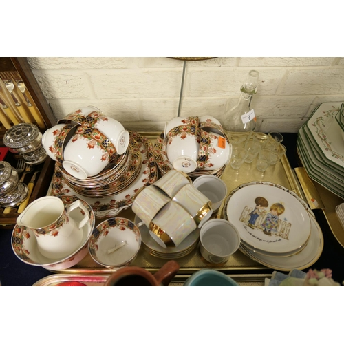 9 - Stanley china tea service, further tea wares and collectors' plates; also liqueur set (1 tray)...