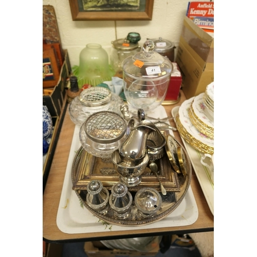 41 - Edinburgh Crystal pot pourri bowl, further glassware, silver plated tray, milk jug, cruets etc (1 tr...