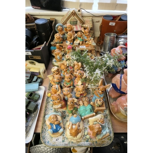 47 - Collection of Pendelfin figures and scenery including Fruit Shop etc...