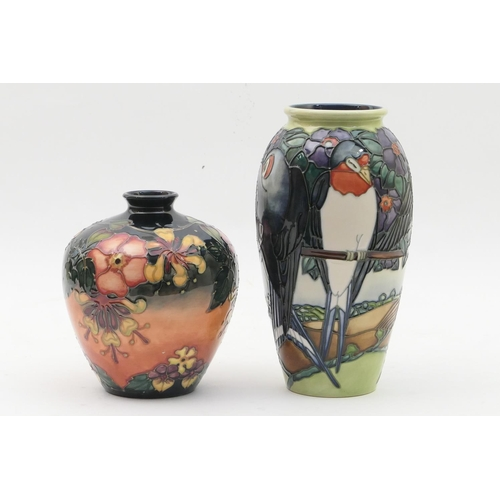 10 - Moorcroft limited edition Swallows vase, numbered 332/500, circa 1997 (second), 25.5cm; and a Moorcr...