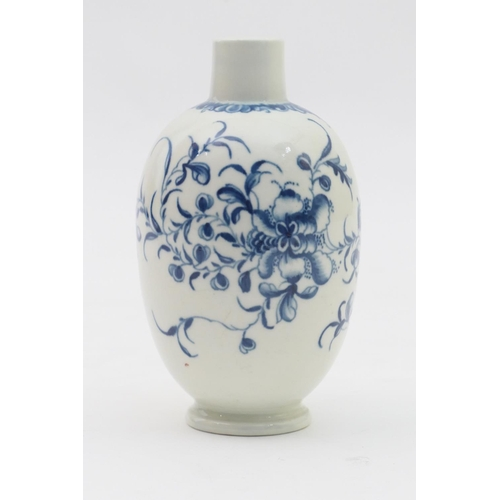 12 - Worcester Mansfield pattern blue and white tea canister, circa 1780, blue open crescent mark, height...