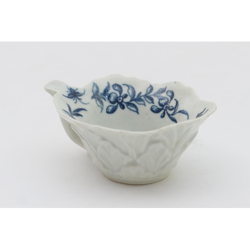 13 - Worcester formal rose pattern blue and white moulded butter boat, circa 1760-70, relief moulded thro...