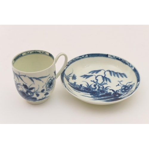 14 - Worcester blue and white coffee cup and saucer, circa 1770, decorated with the candle fence pattern,...