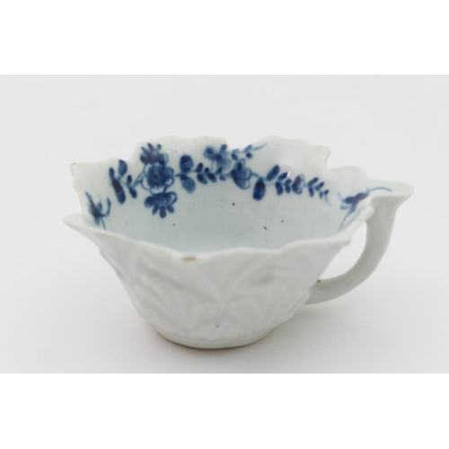 15 - Worcester blue and white moulded butter boat, in the Mansfield pattern, circa 1770, moulded with ove...
