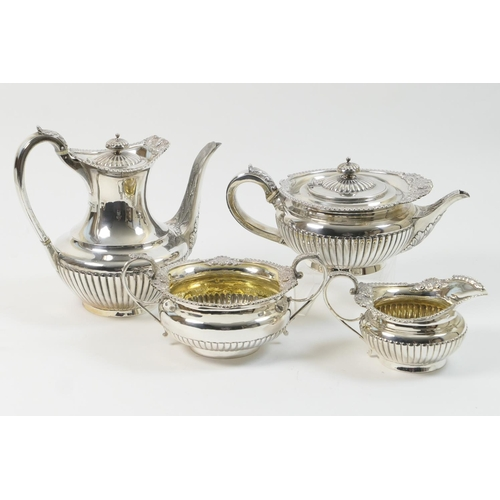 150 - Victorian silver tea and coffee service, by the Barnards, comprising teapot, coffee pot and milk jug...