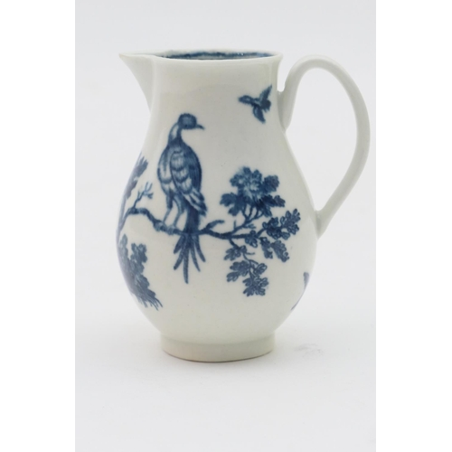 16 - Worcester blue and white sparrow beak jug, circa 1770, decorated with the birds in branches printed ...