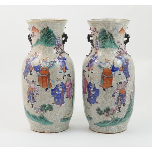 20 - Pair of Chinese famille rose craquelure vases, late 19th Century, ovoid shape with wide neck, decora...