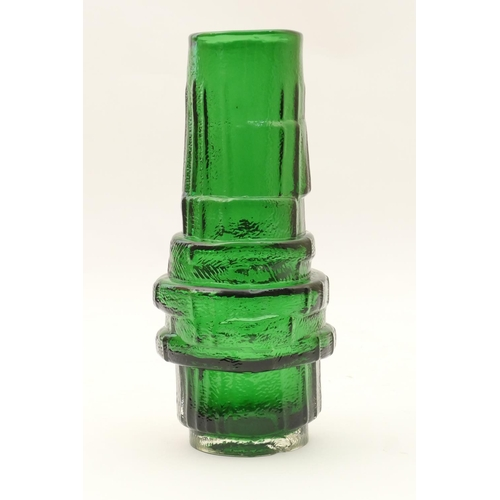 25 - Geoffrey Baxter for Whitefriars hooped vase, pattern no. 9680, finished in green, height 30cm....
