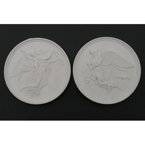 29 - Pair of Eneret relief moulded porcelain plaques, emblematic of Night and Day, impressed marks, 14.5c...