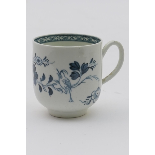 30 - Philip Christian, Liverpool, blue and white coffee cup, circa 1770, decorated with the crested bird ...