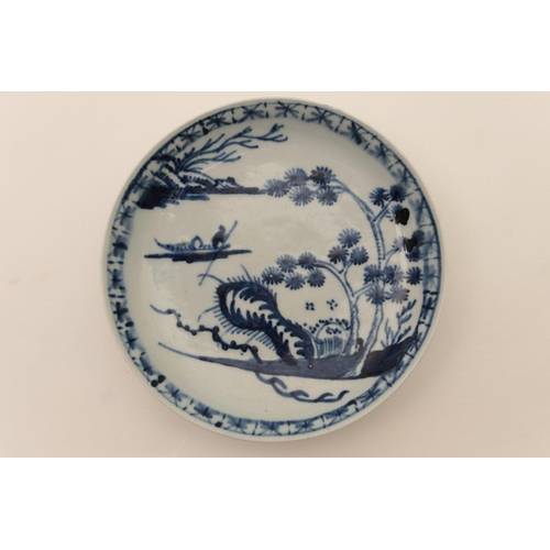31 - Richard Chaffers, Liverpool, blue and white saucer, circa 1760, decorated with a Chinese river scene...